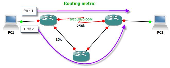Routing metric hop count