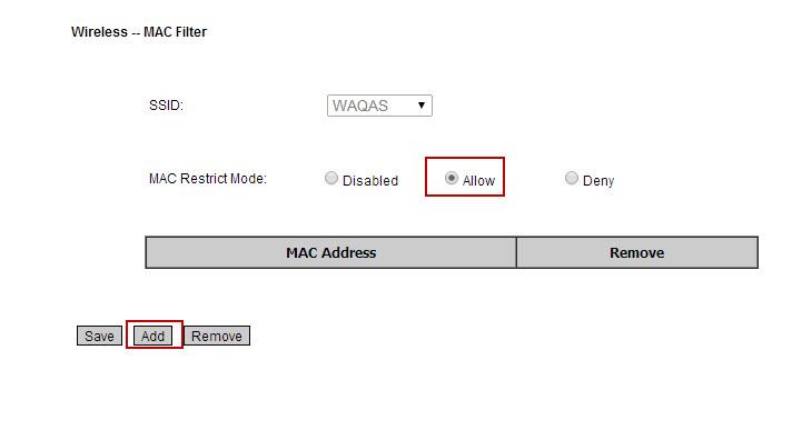 mac filtering on wirele