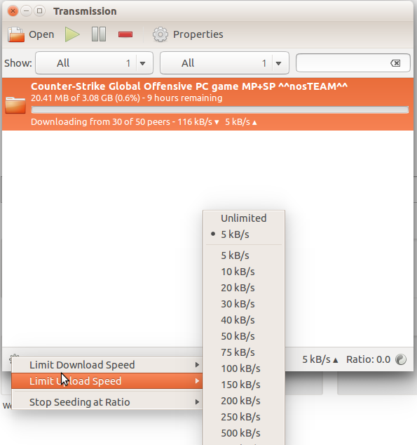 controll upload speed with tranmission