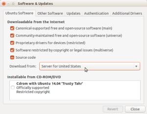 select US servers for downloads on ubuntu