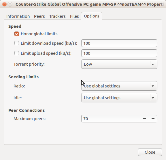 transmission properties on Ubuntu