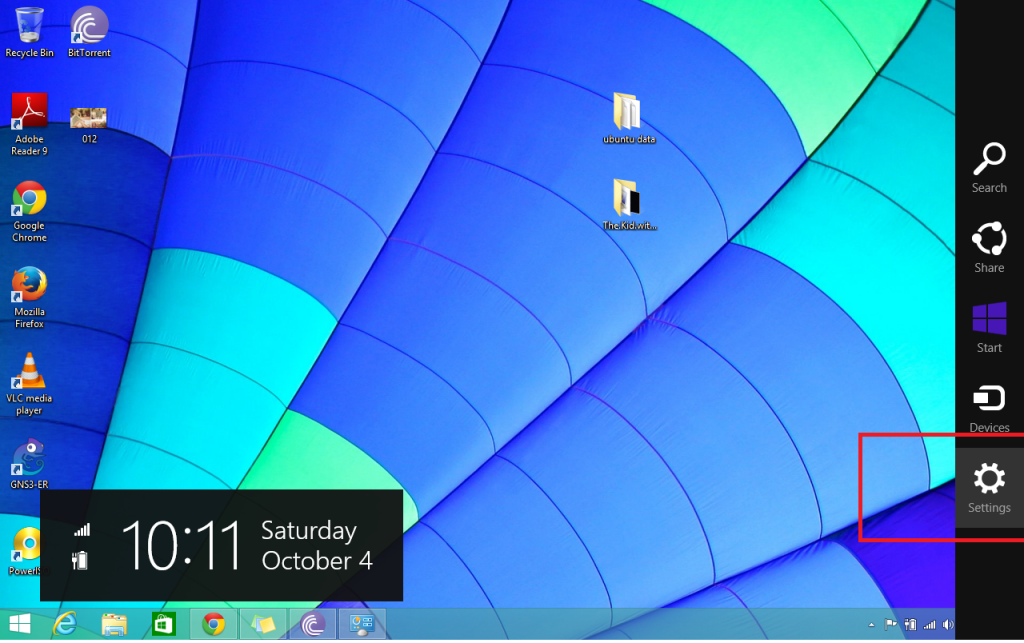 windows 8.1 setting