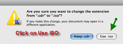change cdr to iso extension