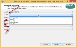 default interface gns3 router