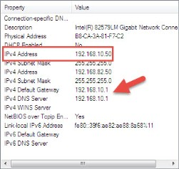 IP address of NIC