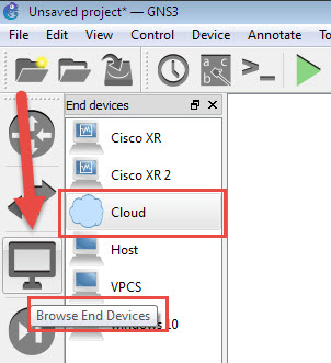 gns3 cloud in end devices